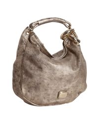 Jimmy Choo | Gold Metallic Perforated Leather Sky Bangle Hobo | Lyst