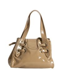 Jimmy Choo - Natural Nude Patent Leather Roquette Small Tote - Lyst