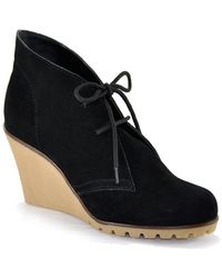 Kelsi Dagger Brooklyn | Fanetta - Black Suede Wedge Bootie | Lyst