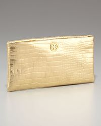 Tory Burch | Metallic Lily Croc-embossed Clutch | Lyst