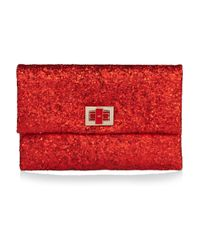 Anya Hindmarch | Red Valorie Glitter-finish Leather Clutch | Lyst