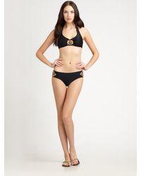 Badgley Mischka - Black Tangier Beaded Bikini Bottom - Lyst