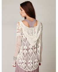 Free People - White Pacifica Crochet Hoodie - Lyst