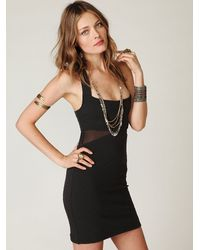 Free People - Black Zig Zag Bodycon Dress - Lyst