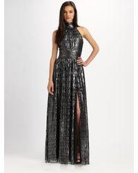 Halston   Black Chevron Striped Caftan Dress   Lyst