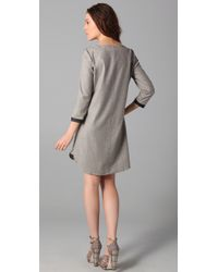 Madewell - Gray Leather Trim Attaché Dress - Lyst