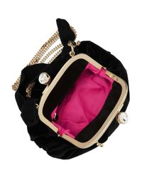 MILLY - Black Samantha Velvet Clutch - Lyst