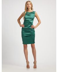 Nicole Miller | Green Stretch Satin Dress | Lyst