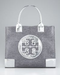 Tory Burch | Gray Leather & Flannel Ella Tote | Lyst