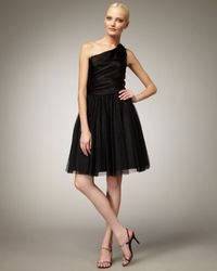 Aidan Mattox | Black Feather-detail One-shoulder Dress | Lyst