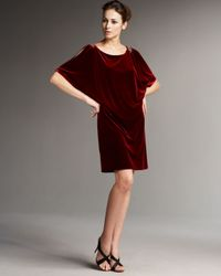 Aidan Mattox | Red Slit-sleeve Velvet Shift Dress | Lyst
