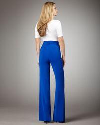 Alice + Olivia - Blue High-waist Wide-leg Pants - Lyst
