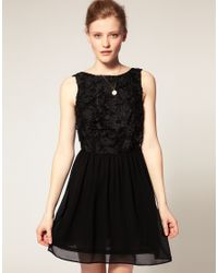 ASOS Collection | Black Asos Skater Dress with Flower Applique | Lyst