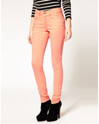 ASOS Collection | Pink Asos Neon Coral Skinny Jeans | Lyst