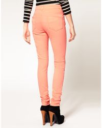 ASOS Collection - Pink Asos Neon Coral Skinny Jeans - Lyst