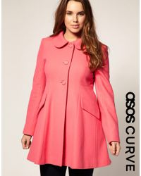 ASOS Collection | Pink Asos Curve Sugarland A-line Coat | Lyst
