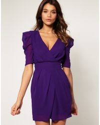 ASOS Collection - Purple Asos Cross Over Tulip Dress with Ruched Sleeves - Lyst