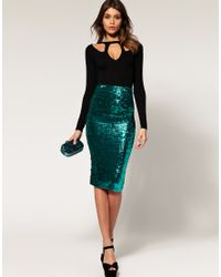 ASOS Collection | Blue Asos Pencil Skirt in Sequins | Lyst