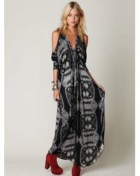 Free People | Black Printed Open Shoulder Kaftan | Lyst