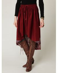 Free People - Red High Low Crinkle Skirt - Lyst
