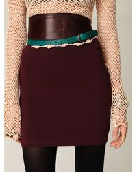 Free People - Purple Stretch Bodycon Mini Skirt - Lyst