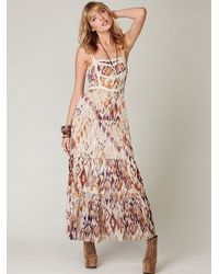 Free People | Pink Printed Point Desprit Maxi Slip | Lyst