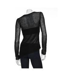 Helmut Lang - Black Open Weave Paper Wool Sweater - Lyst
