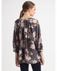 Joie | Blue Nikara Silk Floral Blouse | Lyst