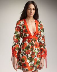 MILLY | Orange Allesandra Tie-back Coverup | Lyst