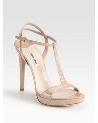 Miu Miu | Natural Patent Leather T-strap Slingback Platform Sandals | Lyst