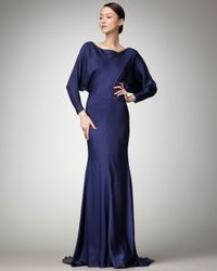Nicole Miller | Blue Blouson Train-back Gown | Lyst