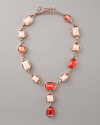 Oscar de la Renta | Red Oval-bezel Cabochon Necklace | Lyst