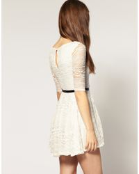 River Island | Beige Belted Lace Dress | Lyst