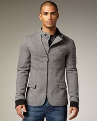 Royal Underground | Gray Asymmetric Zip Jacket for Men | Lyst