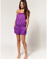 Seafolly   Purple Cotton Playsuit   Lyst