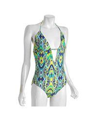 Shoshanna - Blue Indigo Balinese Ikat Keyhole One Piece Swimsuit - Lyst