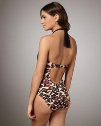 St. John - Black Couture Club Leopard-print Halter Neckline - Lyst