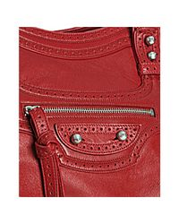 Balenciaga - Red Leather Riva Top Handle Shoulder Bag - Lyst