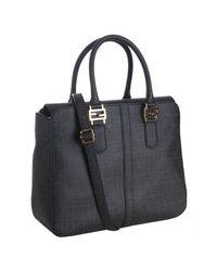 Fendi - Black Zucchino Canvas Top Handle Crossbody Bag - Lyst