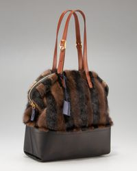 Fendi | Brown Striped Mink 2bag | Lyst