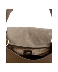 Fendi | Brown Grey and Stone Leather Anna Contrast Small Shoulder Bag | Lyst