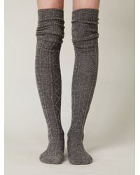 Free People - Gray Vintage Sweater Tall Sock - Lyst