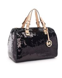 MICHAEL Michael Kors | Large Grayson Sequin Satchel, Black | Lyst