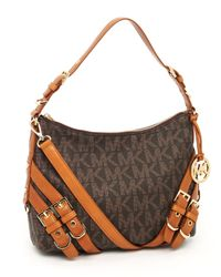 MICHAEL Michael Kors | Brown Mk Logo Milo Medium Shoulder Bag | Lyst