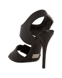 Michael Kors | Black Leather Buckle Detail Heeled Sandals | Lyst