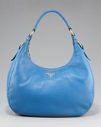 Prada | Blue Vitello Daino Hobo | Lyst