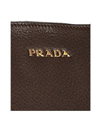 Prada | Burnt Brown Deerskin Buckle Detail Large Tote | Lyst