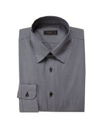 Prada | Gray Hematite Micro Check Cotton Point Collar Dress Shirt for Men | Lyst