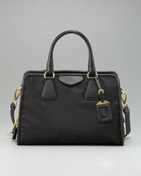 Prada | Black Medium Nylon and Calfskin Tote | Lyst