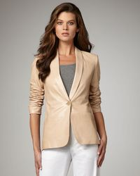 VINCE | Natural Lamb Leather Blazer | Lyst